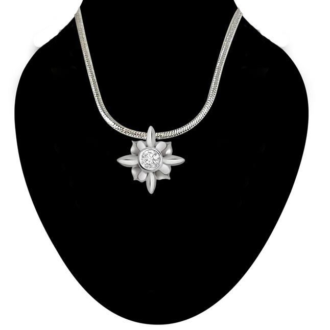 Basketful of Love - Real Diamond & Sterling Silver Pendant with 18 IN Chain