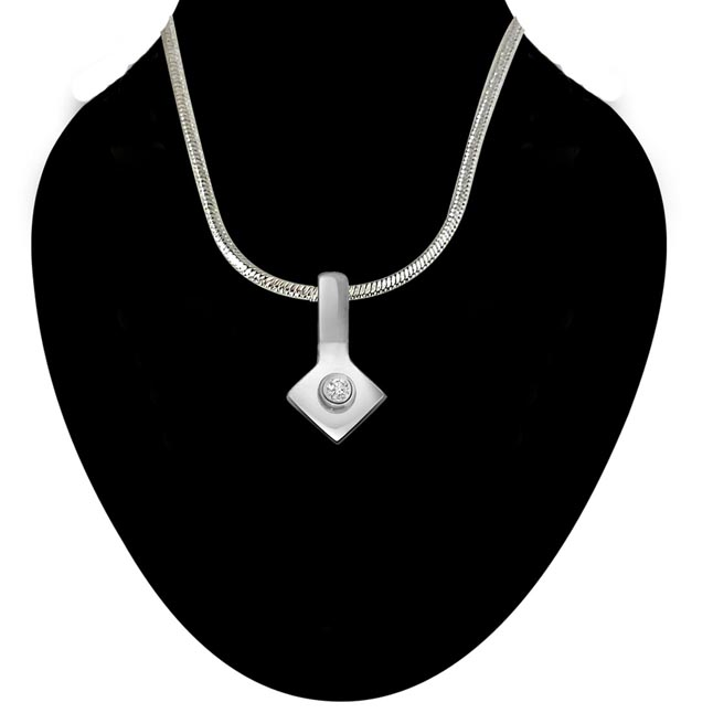 Pretty Little - Real Diamond & Sterling Silver Pendant with 18 IN Chain