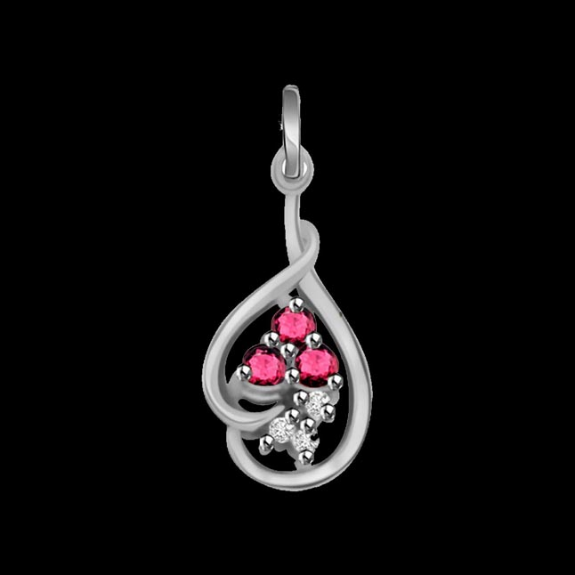 Trinking Love - Real Diamond, Red Ruby & Sterling Silver Pendant with 18 IN Chain