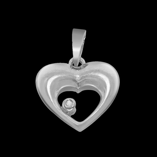 Heart & Soul - Real Diamond & Sterling Silver Pendant with 18 IN Chain
