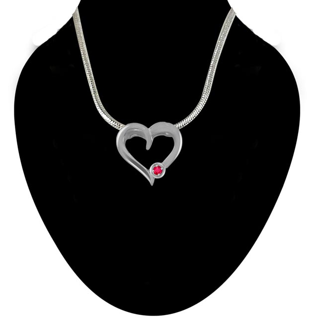 Piece of My Heart - Real Red Ruby & Sterling Silver Pendant with 18 IN Chain