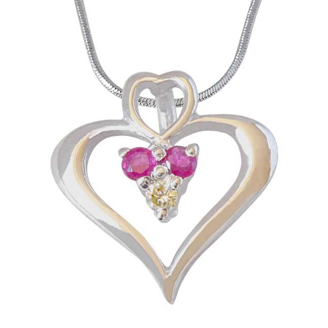 Rosy Heart - Real Diamond, Red Ruby & Sterling Silver Pendant with 18 IN Chain