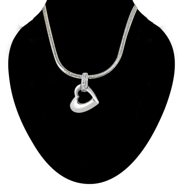 Heaven of Love Real Diamond & Sterling Silver Pendant with 18 IN Chain