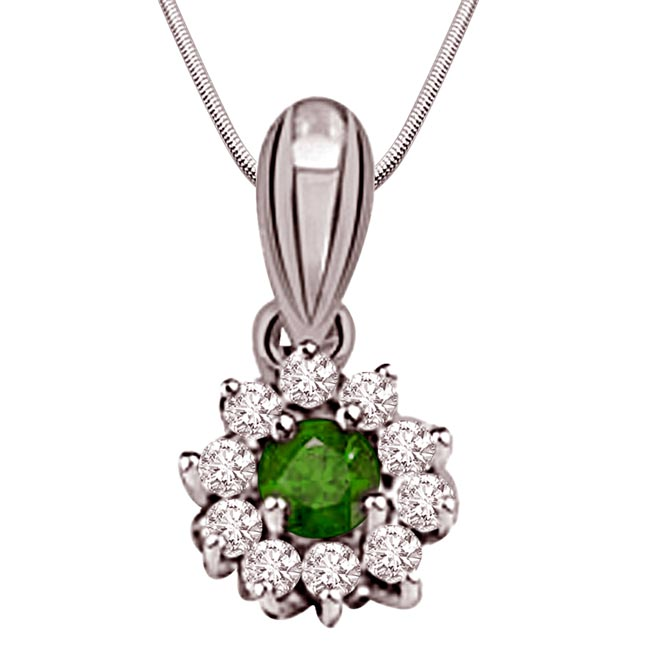 Green Garden - Real Diamond, Green Emerald & Sterling Silver Pendant with 18 IN Chain