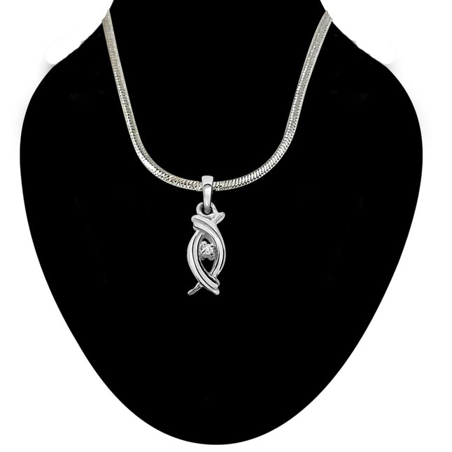 Valentine Aura - Real Diamond & Sterling Silver Pendant with 18 IN Chain