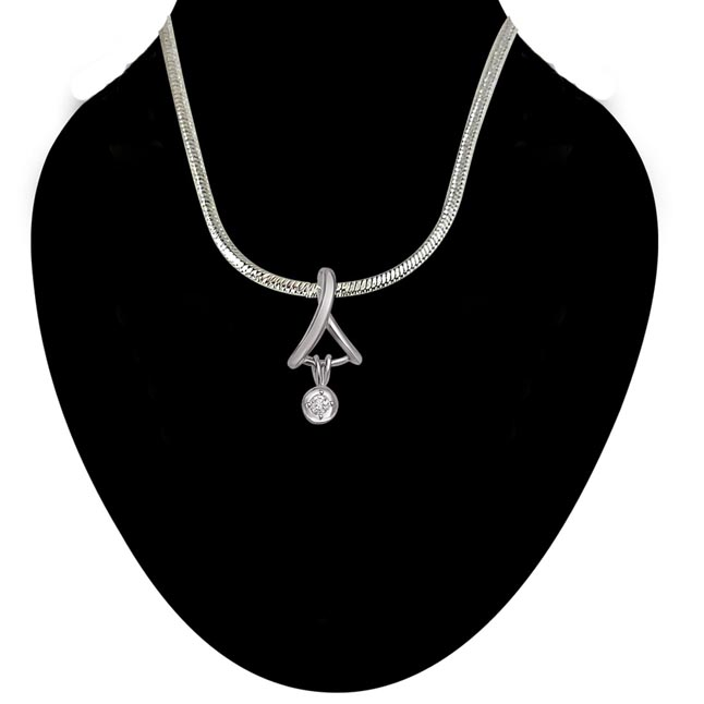 Royal Fantasy - Real Diamond & Sterling Silver Pendant with 18 IN Chain