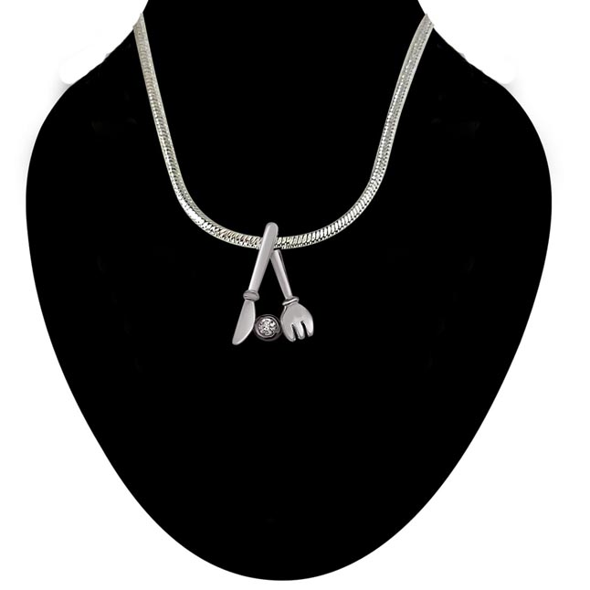 Holding Purity Sterling Silver Real Diamond Pendant with 18 IN Chain