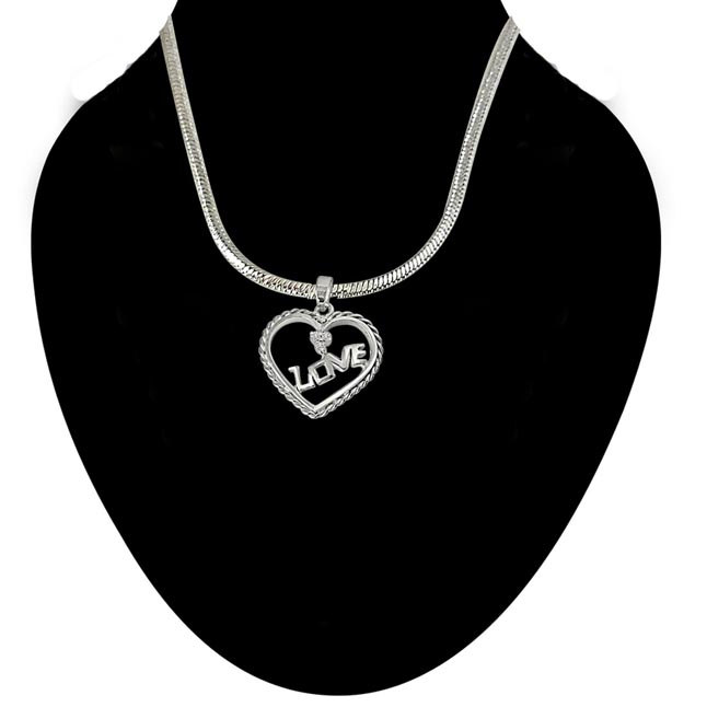 Love Your Heart - Real Diamond & Sterling Silver Pendant with 18 IN Chain (SDP205)
