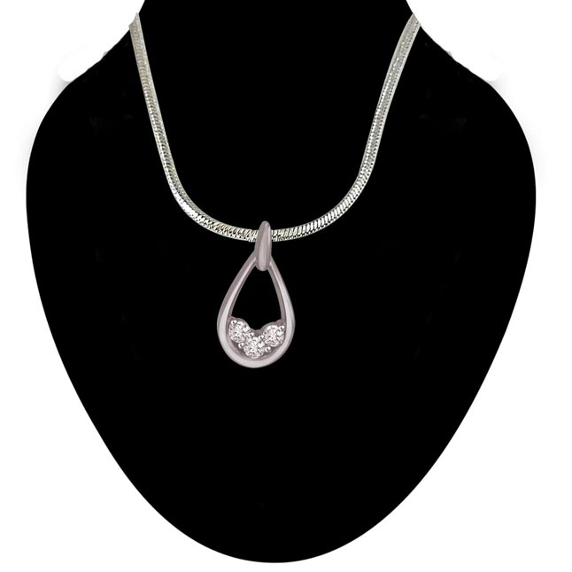 Vintage Vanity - Real Diamond & Sterling Silver Pendant with 18 IN Chain