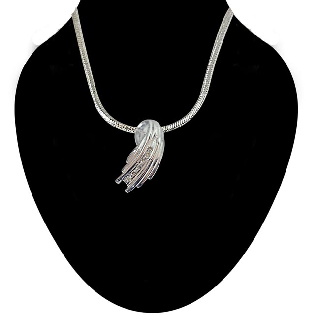 Speedy Grace - Real Diamond & Sterling Silver Pendant with 18 IN Chain