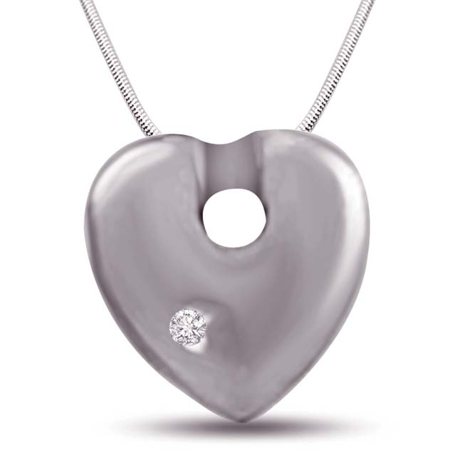 Rope of Love - Real Diamond & Sterling Silver Pendant with 18 IN Chain (SDP224)