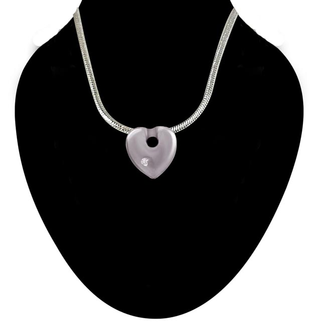 Rope of Love - Real Diamond & Sterling Silver Pendant with 18 IN Chain