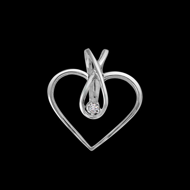 Endless Love - Real Diamond Pendant in Sterling Silver With 18 IN Chain