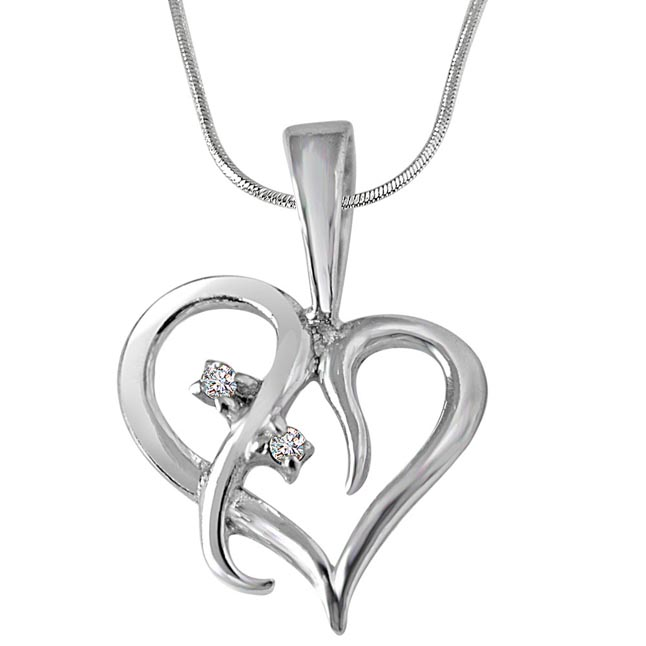 Loyal Love - Real Diamond & Sterling Silver Pendant with 18 IN Chain (SDP226)