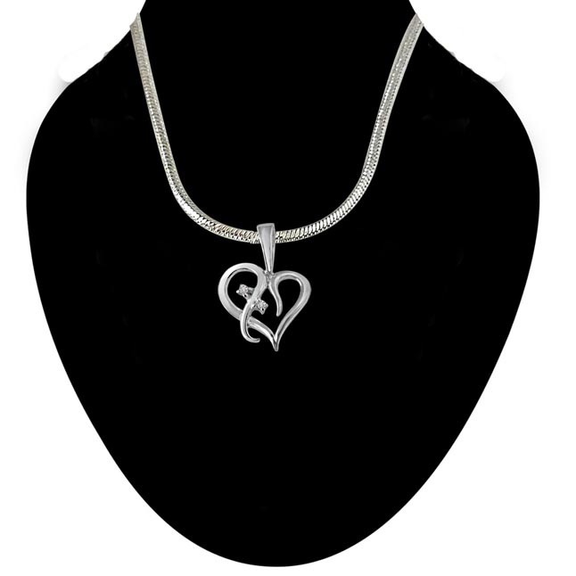 Loyal Love - Real Diamond & Sterling Silver Pendant with 18 IN Chain