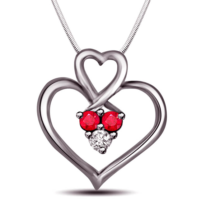 Purity of True Bonding - Real Diamond, Red Ruby & Sterling Silver Pendant with 18 IN Chain
