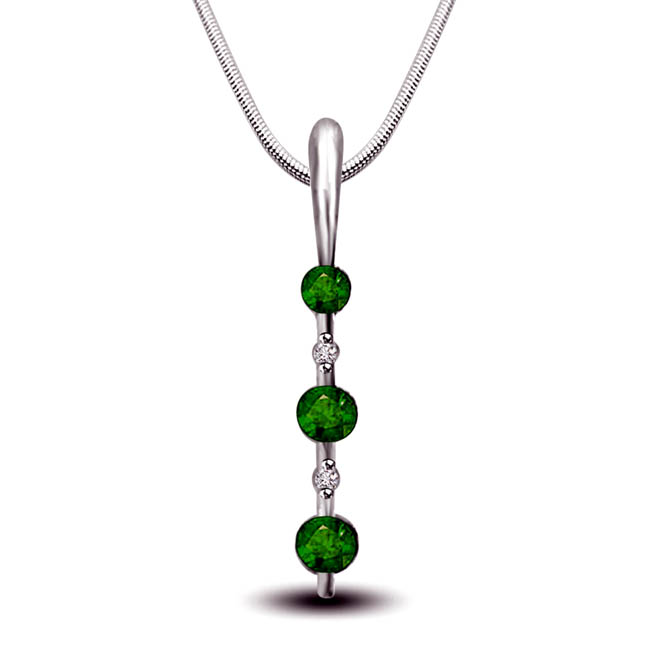 Green Leaves Land - Real Diamond, Green Emerald & Sterling Silver Pendant with 18 IN Chain (SDP229)