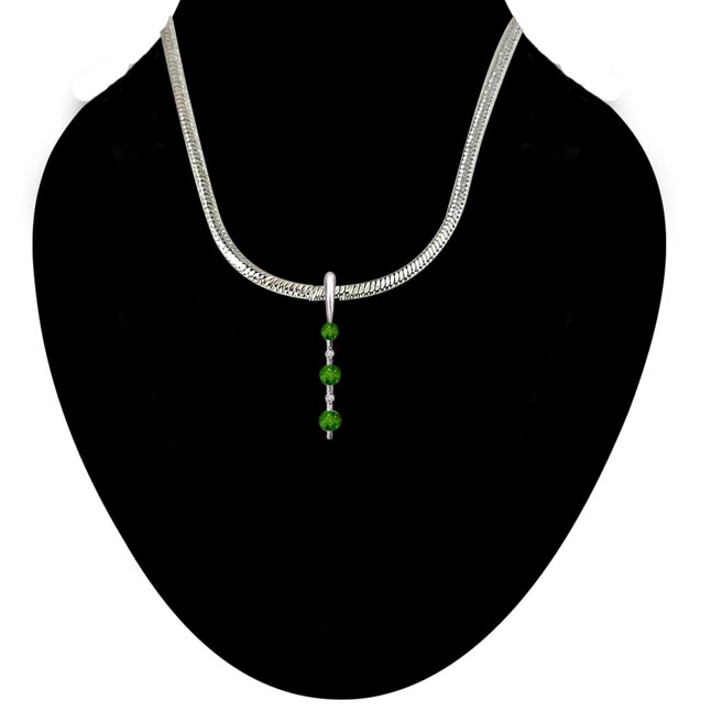 Green Leaves Land - Real Diamond, Green Emerald & Sterling Silver Pendant with 18 IN Chain