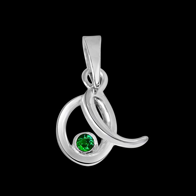 Emerald Twist - Real Emerald & Sterling Silver Pendant with 18 IN Chain