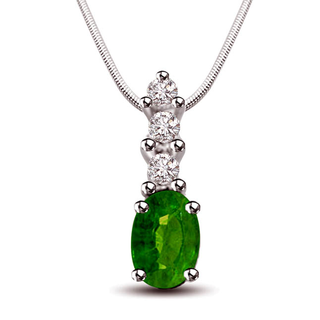 "Greeno Mania - Real Diamond, Green Emerald & Sterling Silver Pendant with 18"" Chain SDP244"
