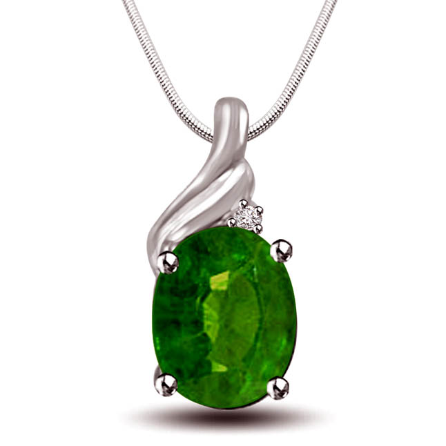 "Green Bewitchment - Real Diamond, Green Emerald & Sterling Silver Pendant with 18"" Chain SDP246"