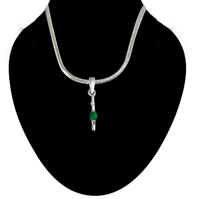 Green Stick - Real Diamond & Green Emerald Pendant in Sterling Silver with 18 IN Chain