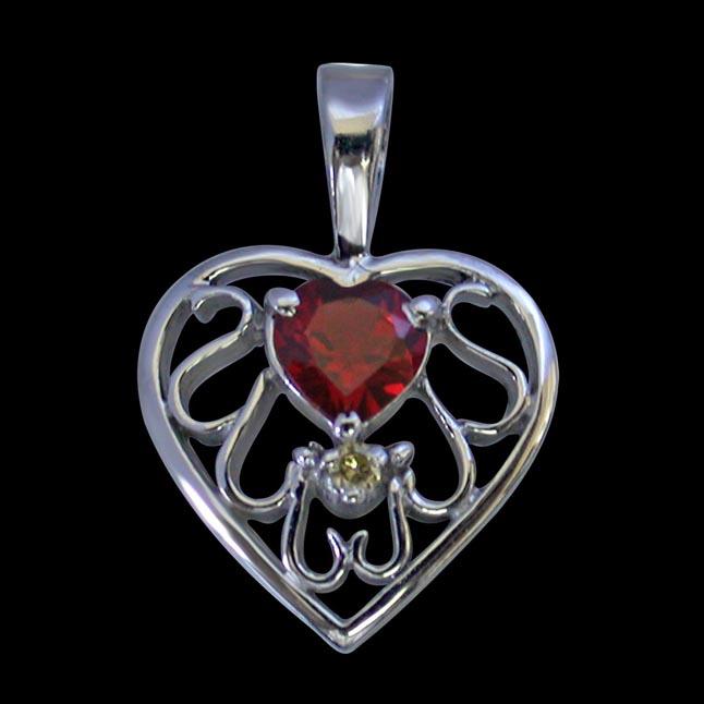 Diamond & Heart Garnet set in Heart n Heart 925 Silver Pendant with 18 IN Chain (SDP270)