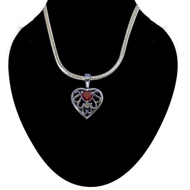 Diamond & Heart Garnet set in Heart n Heart 925 Silver Pendant with 18 IN Chain