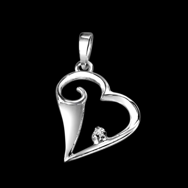 Happy Heart Real Diamond & Sterling Silver Pendant with 18 IN Chain