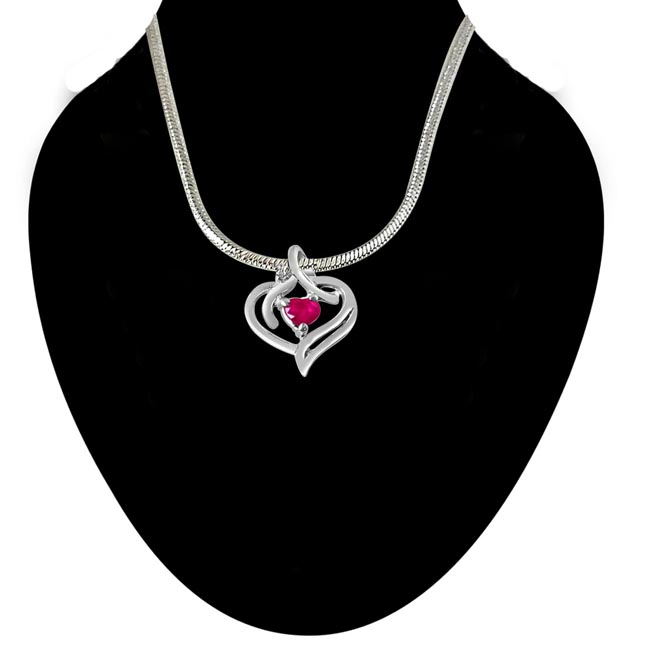 Heart's Desire Real Diamond, Red Ruby & Sterling Silver Pendant with 18 IN Chain