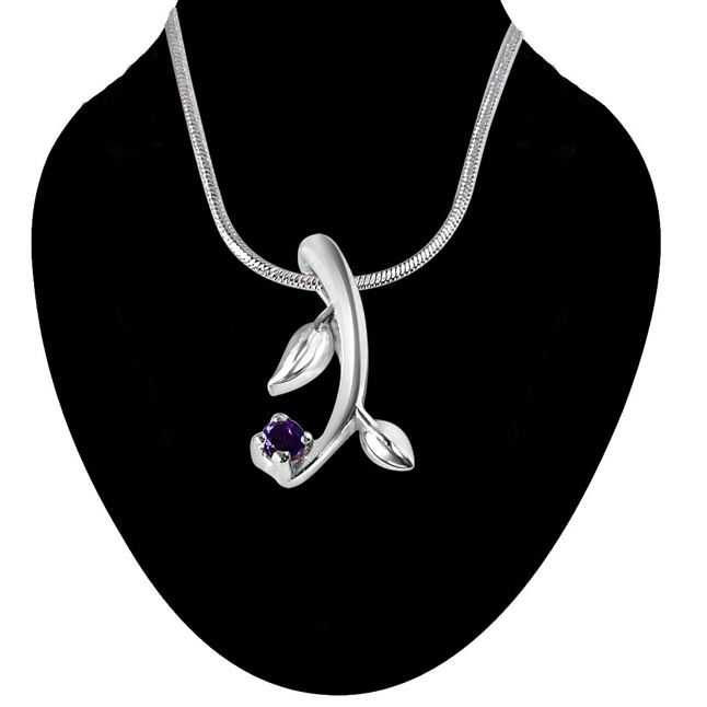 Little Gardener Amethyst & Sterling Silver Pendant with 18 IN Chain
