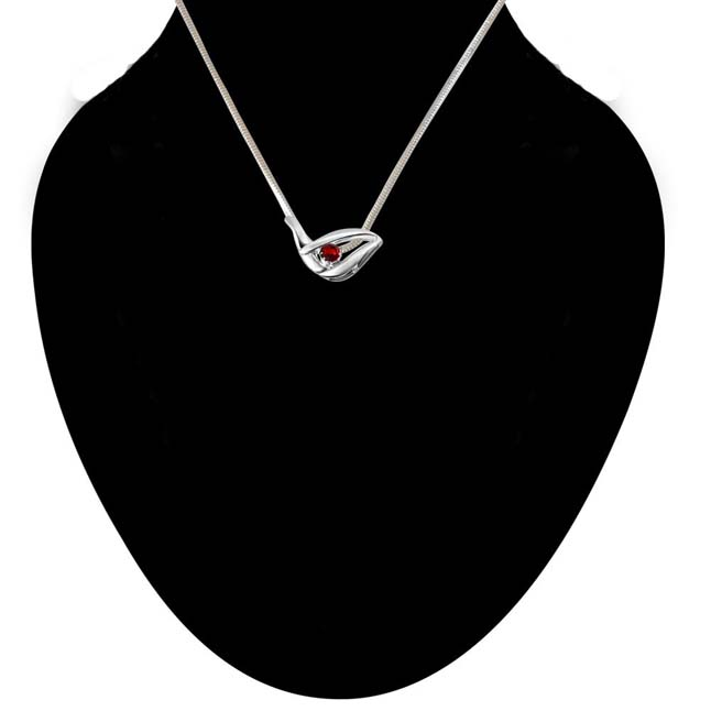 Glitter Years Garnet & Sterling Silver Pendant with 18 IN Chain