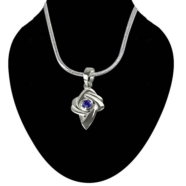 Amethyst Set in Sterling Silver pendant with 18 IN Chain