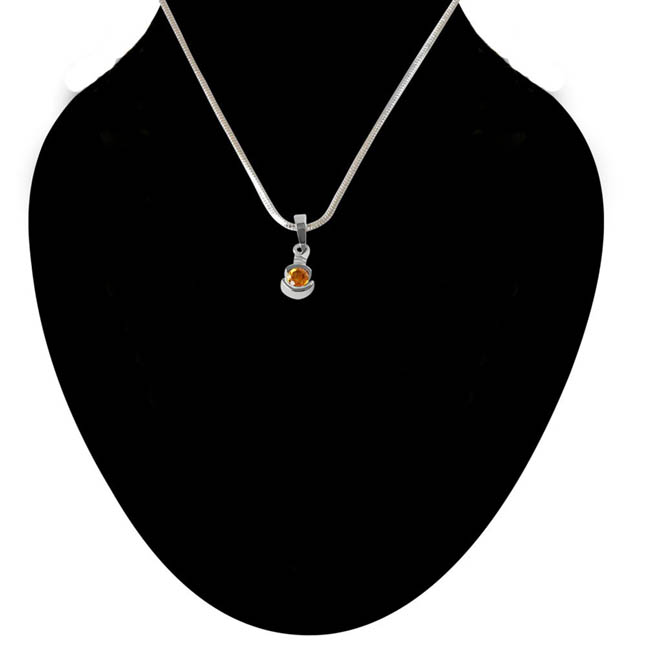Round Shaped Yellow Topaz & 925 Sterling Silver Pendant with 18 IN Chain