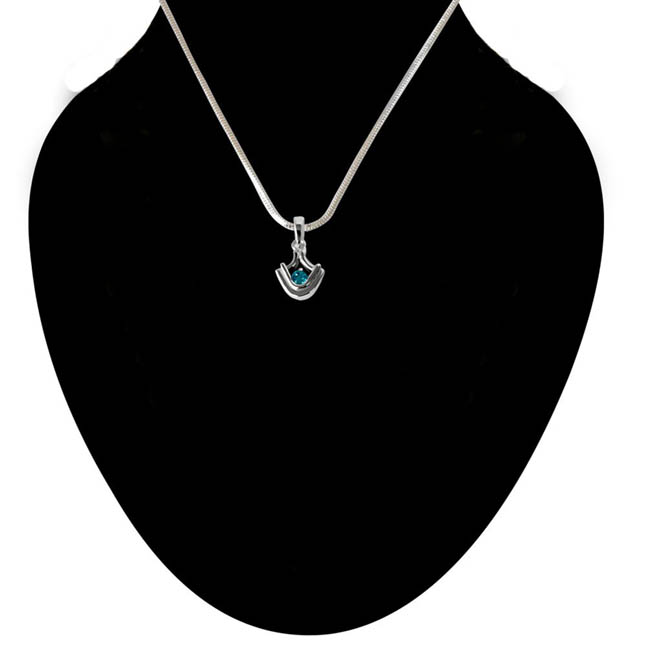 Blue Topaz set in Sterling Silver Pendant with 18 IN Chain
