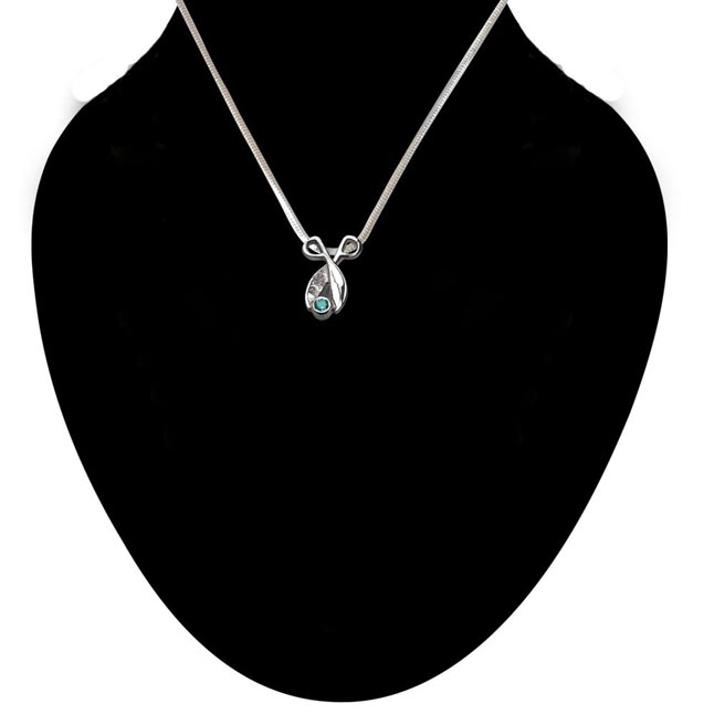 Shinning Magic - Blue Topaz 925 Sterling Silver Pendant with 18 IN Chain