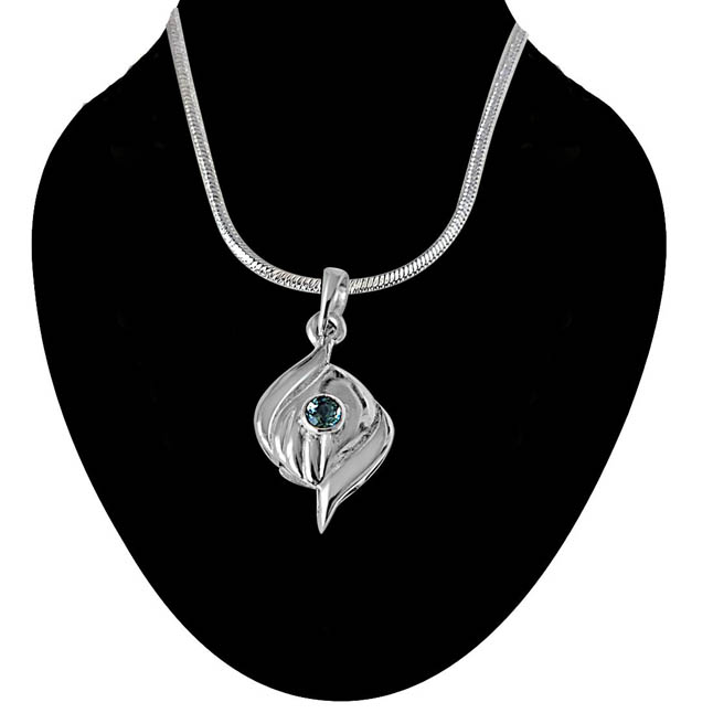 Charming Curve Blue Topaz & Sterling Silver Pendant with 18 IN Chain