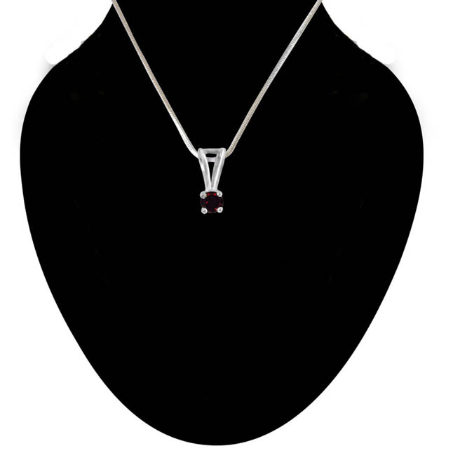 Once in My Life Red Garnet & Sterling Silver Pendant with 18 IN Chain