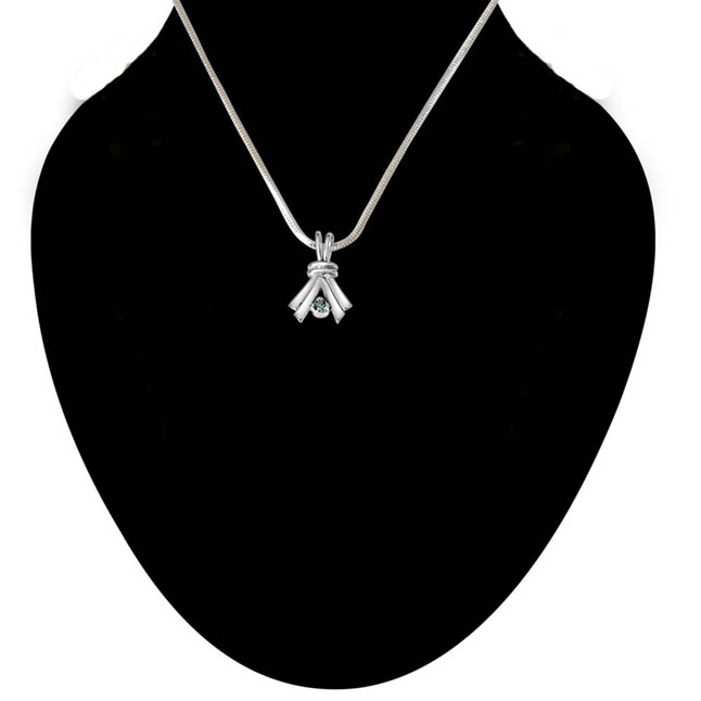 Make A Promise Trendy Blue Topaz & 925 Sterling Silver Pendant with 18 IN Chain
