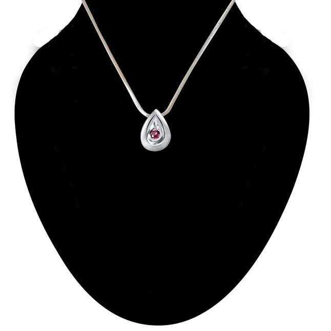 Building of Special Memories Rhodolite & 925 Sterling Silver Pendant with 18 IN Chain