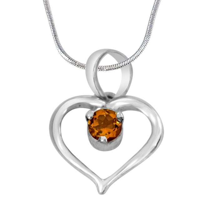 "Perfect Memories Heart Shaped Yellow Topaz & 925 Sterling Silver Pendant with 18"" Silver Finished Chain - Silver Pendant"