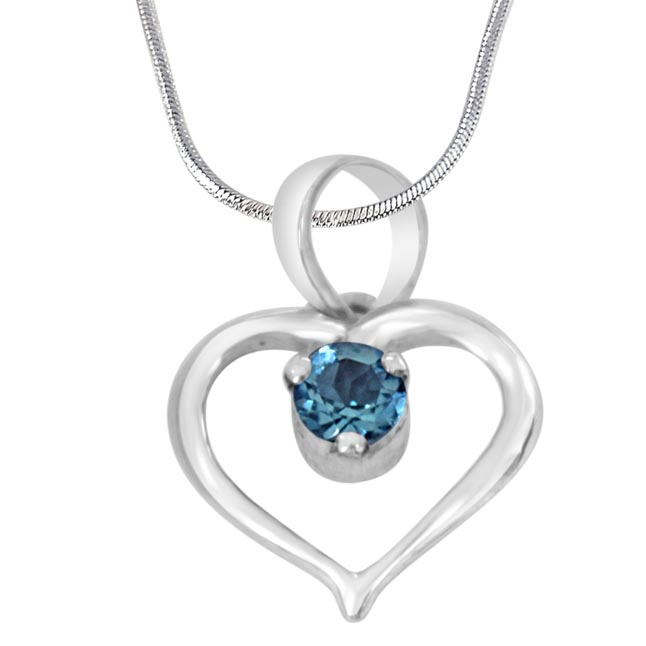 "Prince of My Life Heart Shaped Blue Topaz & 925 Sterling Silver Pendant with 18"" Silver Finished Chain - Silver Pendant"