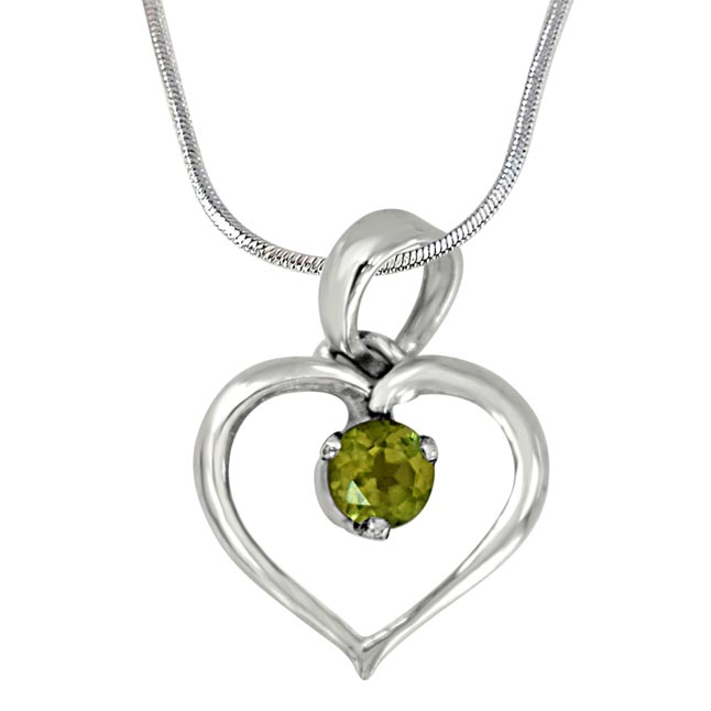"Princess of My World Heart Shaped Green Peridot & 925 Sterling Silver Pendant with 18"" Silver Finished Chain - Silver Pendant"