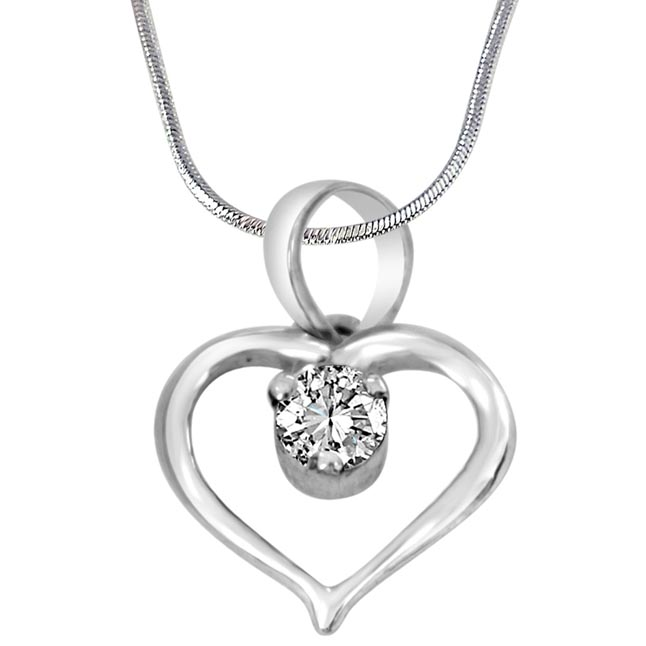 "Priceless Treasure Heart Shaped White Topaz & 925 Sterling Silver Pendant with 18"" Silver Finished Chain - Silver Pendant"
