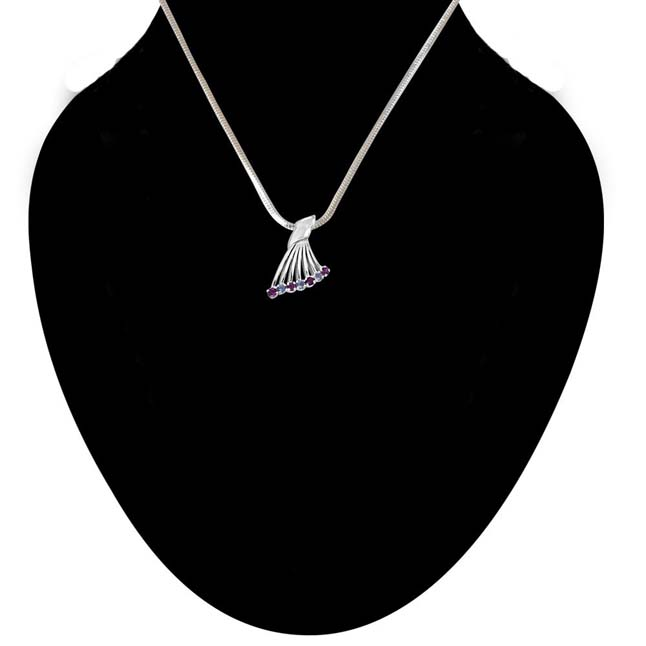 Queen's Wing Blue Topaz, Pink Rhodolite & 925 Sterling Silver Fan Shaped Pendant with 18 IN Chain