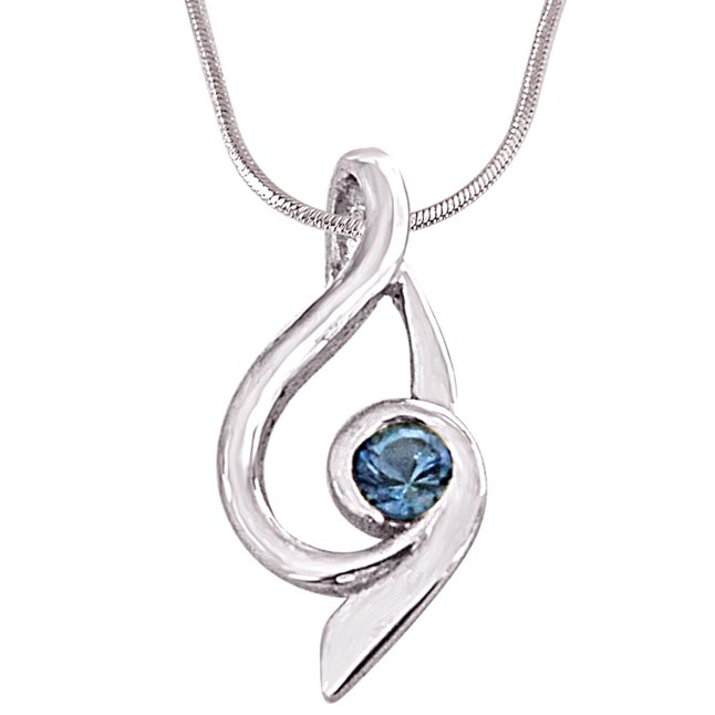 Trendy Blue Topaz and 925 Sterling Silver Pendant with Silver Finished 18IN Chain - Gemstone Pendant
