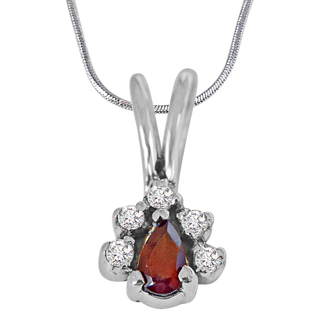 Trendy Red Pear Garnet, White Topaz and 925 Sterling Silver Pendant with Silver Finished 18IN Chain - Gemstone Pendant