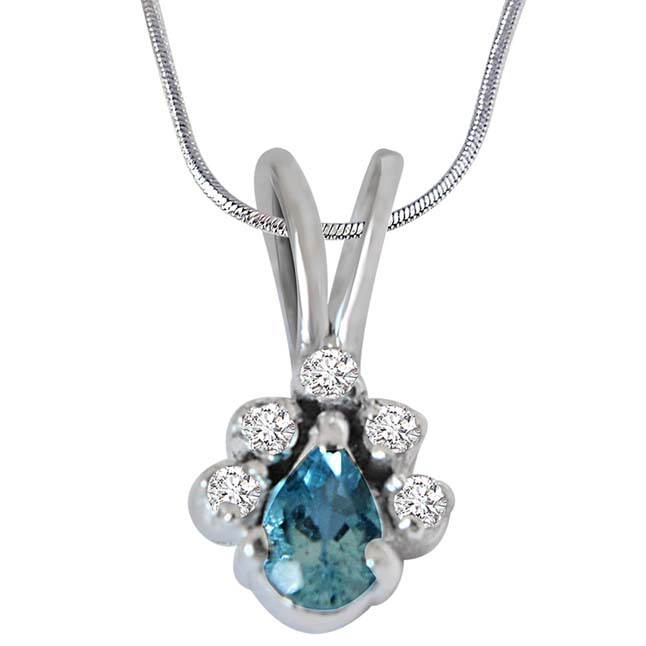 Trendy Pear Shaped Blue Topaz, Round White Topaz and 925 Sterling Silver Pendant with Silver Finished 18IN Chain - Gemstone Pendant