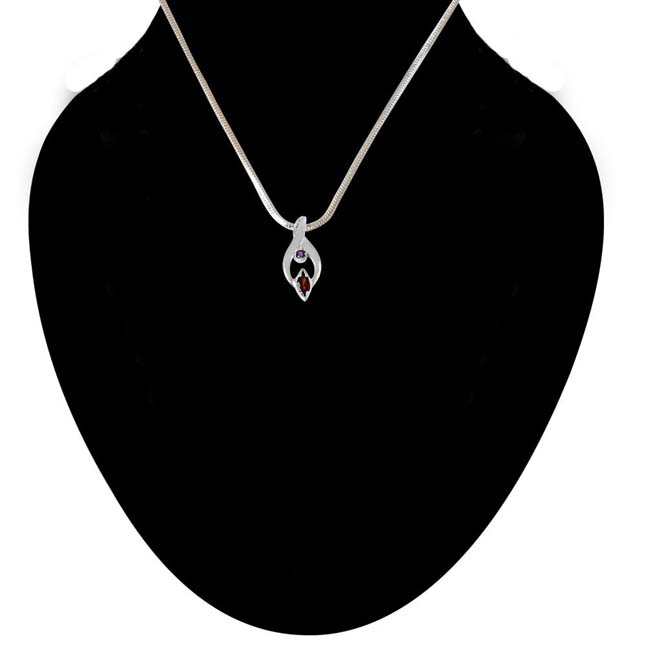 Trendy Marquise Shaped Red Garnet, Round Purple Amethyst and 925 Sterling Silver Pendant with 18 IN Chain (SDP418)