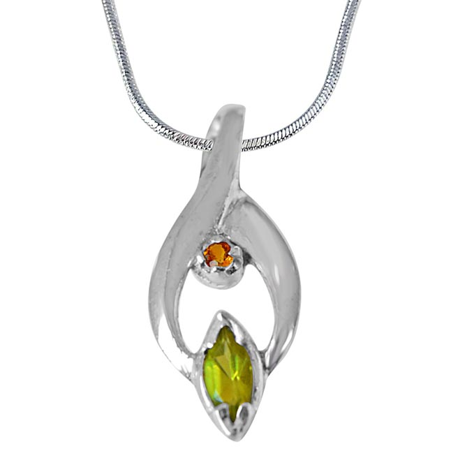 Trendy Marquise Shaped Green Peridot, Round Citrine and 925 Sterling Silver Pendant with Silver Finished 18In Chain - Gemstone Pendant